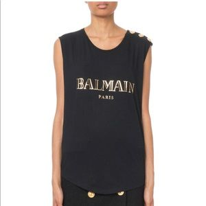 Balmain Button-Shoulder Golden Logo Muscle Tee 34